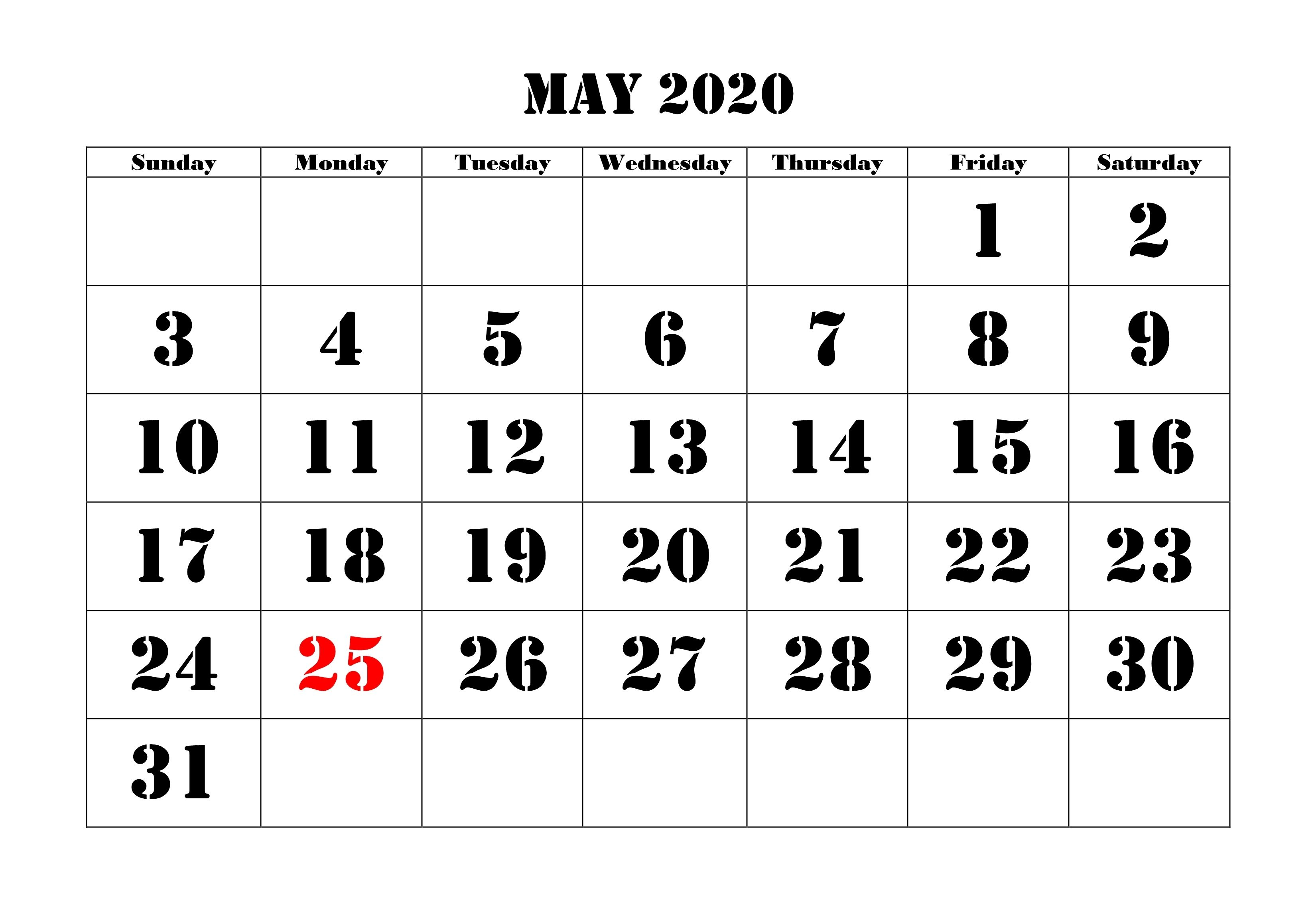 May 2020 Calendar Printable Template With Holidays Calendar