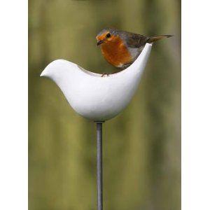 Porcelain Bird Feeder With A Pole Porcelain Bird Feeder With A Pole Amazon Co Uk Garden Outdoors Bird Feeder Res Bird Feeders Bird Hanging Bird Feeders
