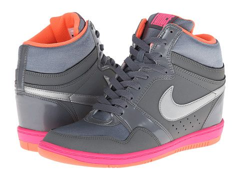 info for 53a4b 24cf3 Nike Force Sky High Sneaker Wedge Cool Grey Hyper Pink Bright Mango Metallic  Silver - Zappos