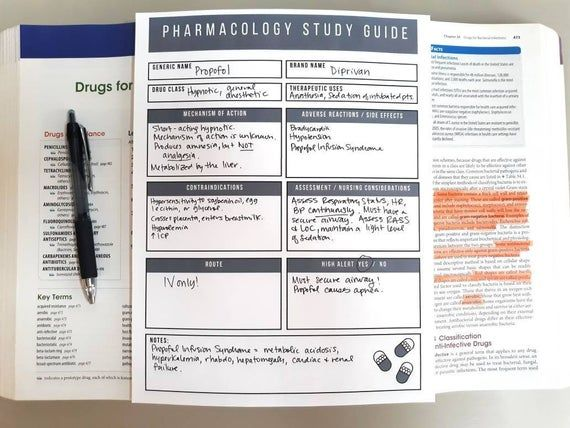 Pharmacology Nursing Student Study Guide Template, Nursing School Review Sheet, Medications, Drugs, MedSurg, Critical Care, Study Guide #nursingstudents