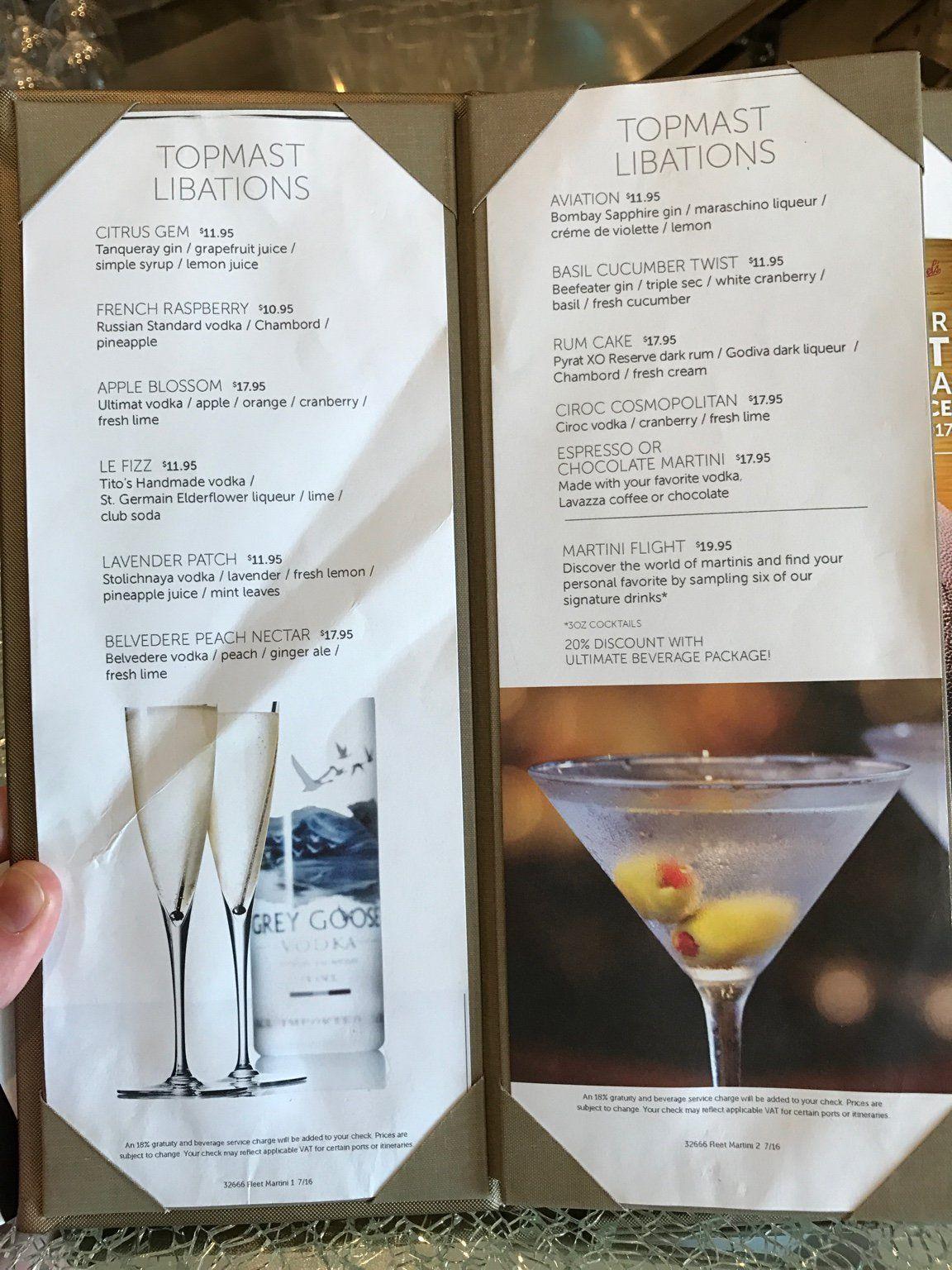 NCL Breakaway Drinks and menus! in 2019 | BA Cruise November 2017