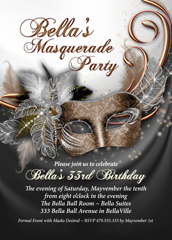 Invitation Fete Mardi Gras Party Invitations Par BellaLuElla Masquerade Ball