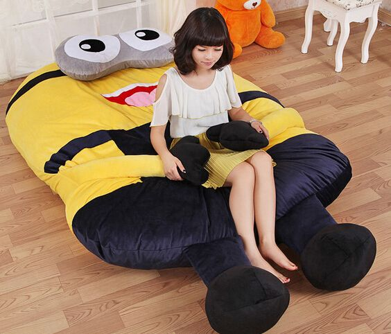 Phenomenal Large Size Cartoon Minion Toys Giant Stuffed Animals 3D Bralicious Painted Fabric Chair Ideas Braliciousco