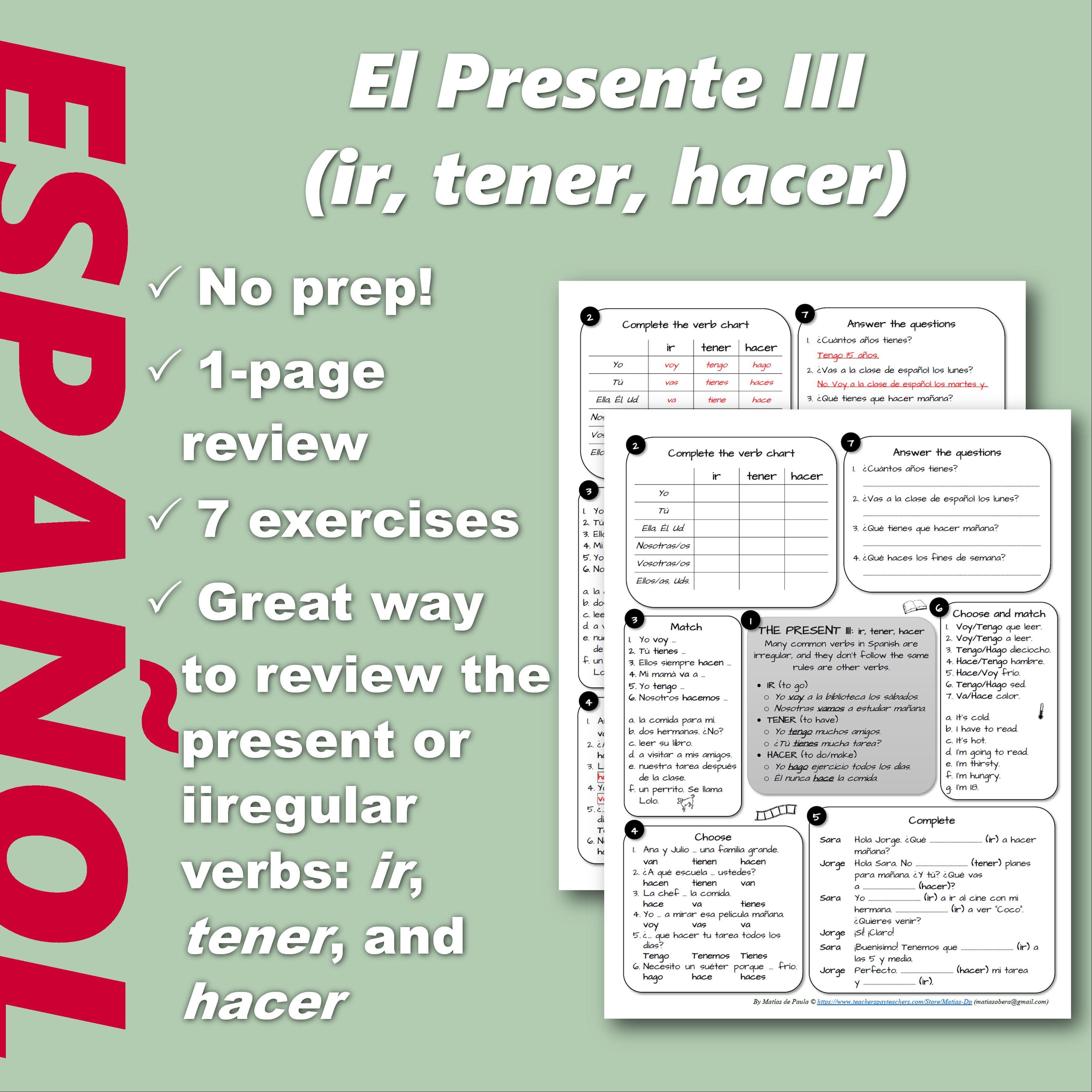 Espanol No Prep 1 Page Review Present Of Irregular Verbs