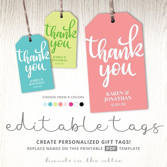 Thank you gift tag template tags printable party favor tags teacher