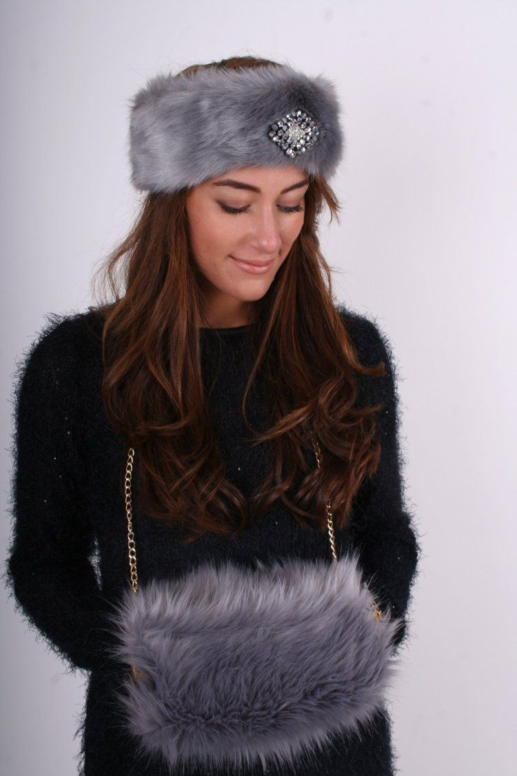 417d575d230828 Grey faux fur hand warmer muff with gold chain - Accessories from Dollywood  Boutique UK Earmuffs