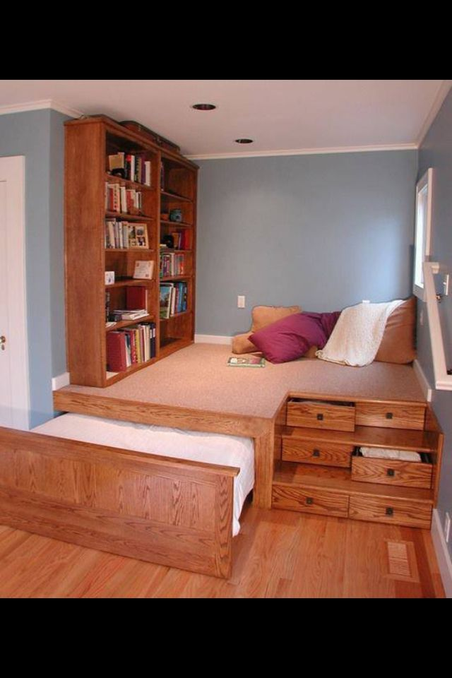 Platform bed for small space home design house - Small space room ideas ...