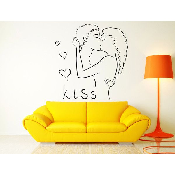 Wall Sticker Kiss Kissing Couple Romantic Love Heart Decor For Pop ...