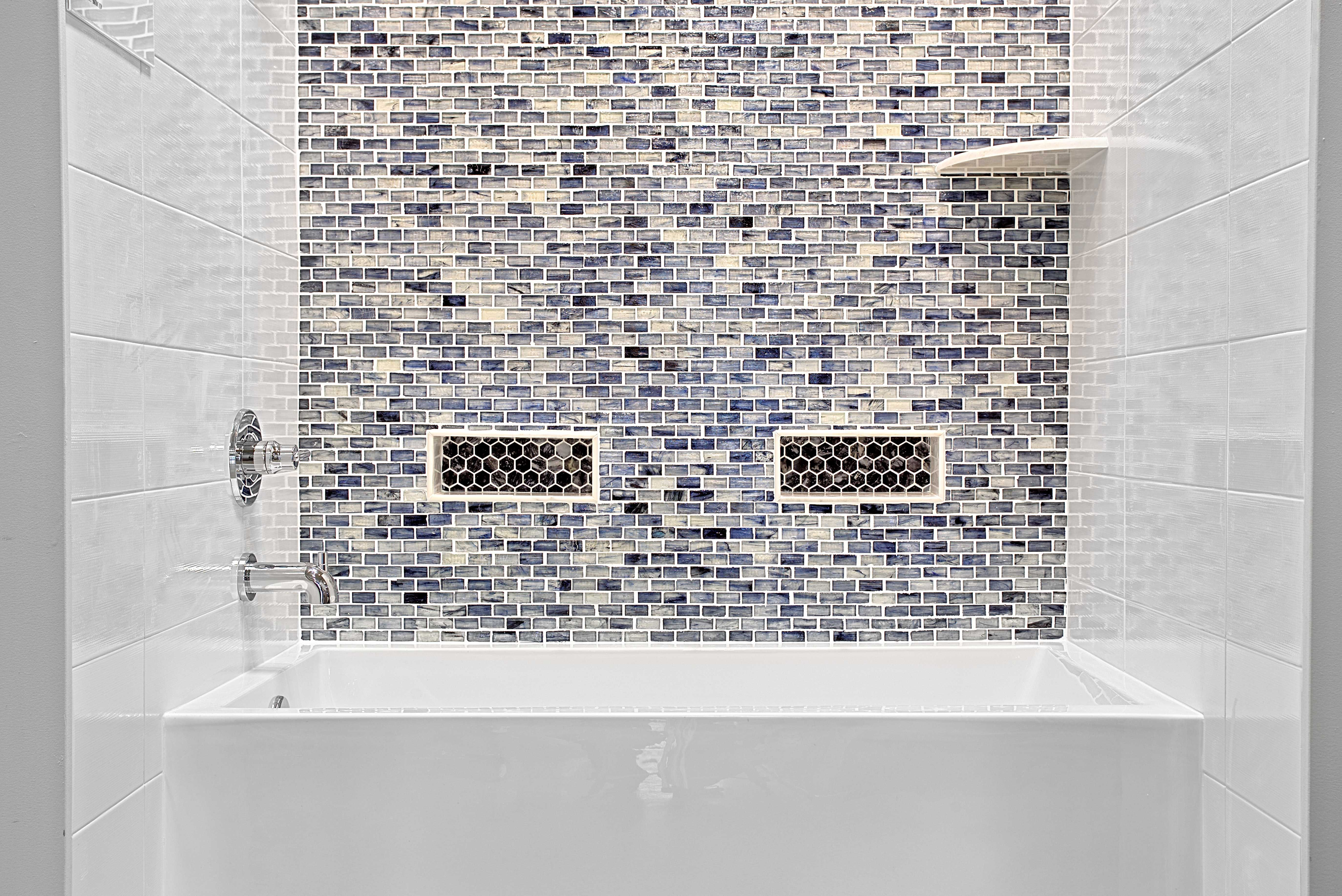 Bathroom Mosaic Wall Tile Blue Twilight Brick Glass Mosaic Tile
