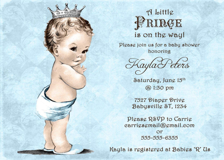 Vintage Baby Shower Invitation For Boy - Prince - Crown - Blue -DIY ...
