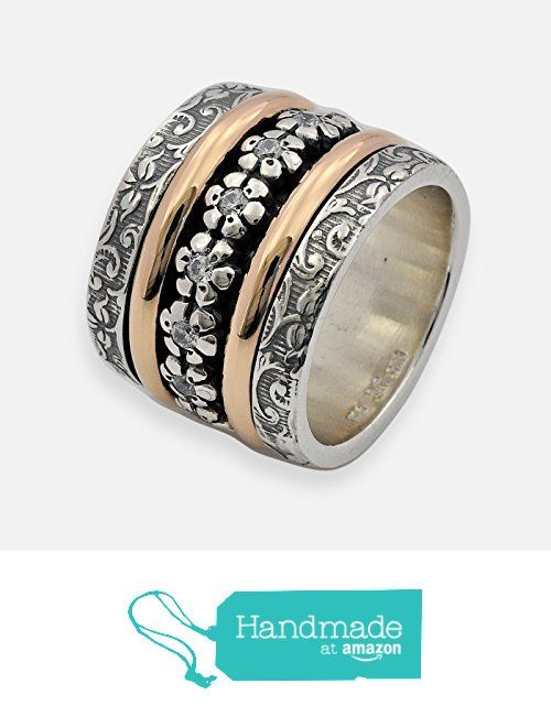 Floral wide spinner ring for woman