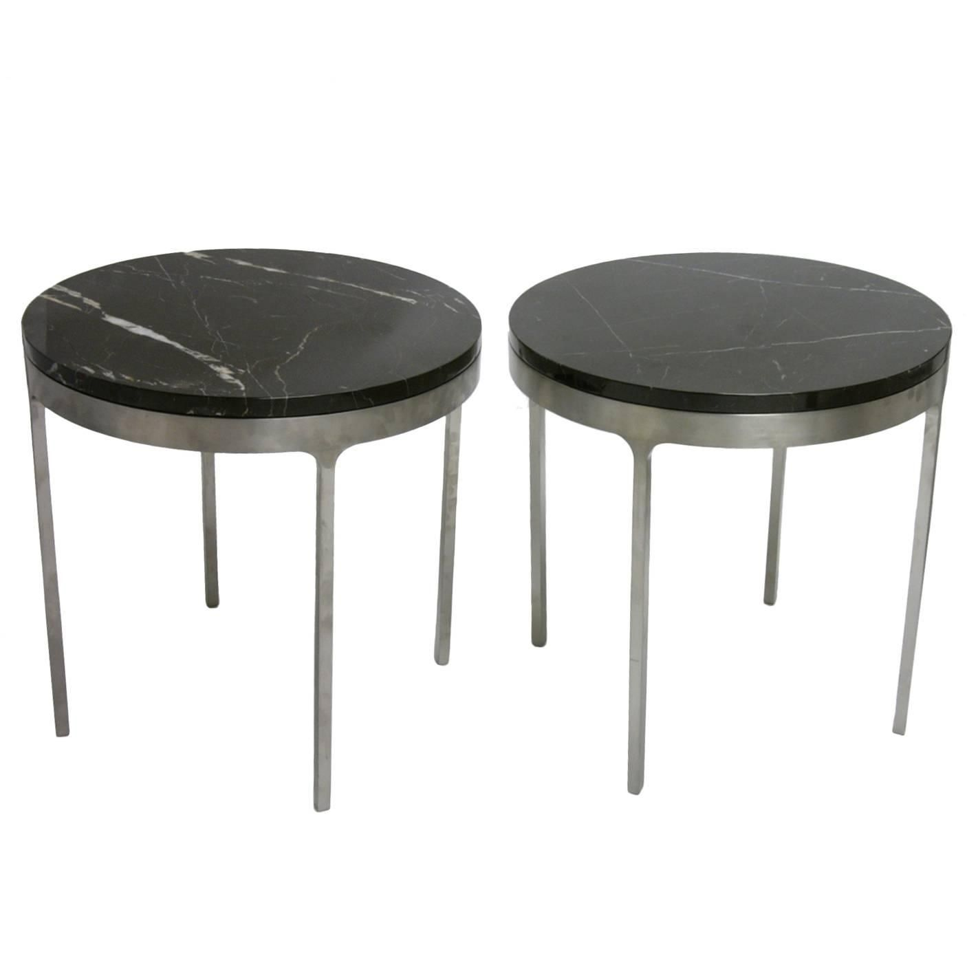 Pair Of Nicos Zographos Stainless Steel Tables With Belgian Black Marble Top My 1stdibs Favorites Steel Table Stainless Steel Table Marble Top