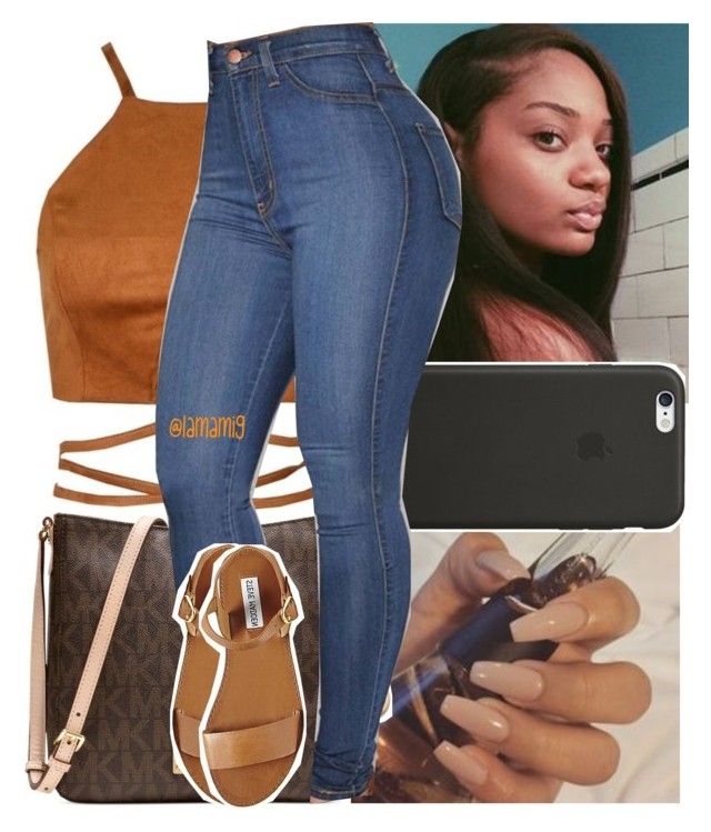 """i pray to make it back in one piece , i pray i pray."" by lamamig ❤ liked on Polyvore featuring Black Apple, Michael Kors and Steve Madden"