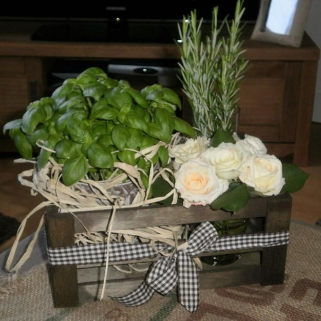 Rosemary, Basil And White Flower Centerpiece Idea For