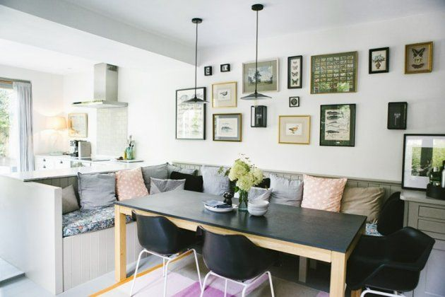 built in banquette middle of room instead of bar counter | home ...