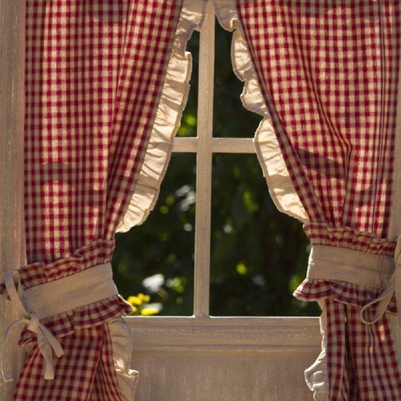 paire de rideaux vichy bordure beige