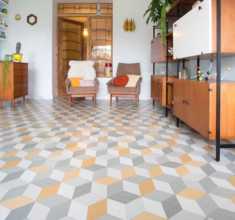 Cubes Yellow Sheet Vinyl Flooring Vinyl flooring