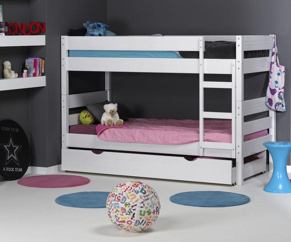 Litera 1 2 3 blanca madera maciza 90x190cm camas for Camas gemelas juveniles
