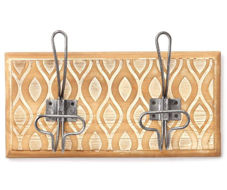 Cream Carved Wooden Wall Rack with Hooks at Big Lots. | Country ...