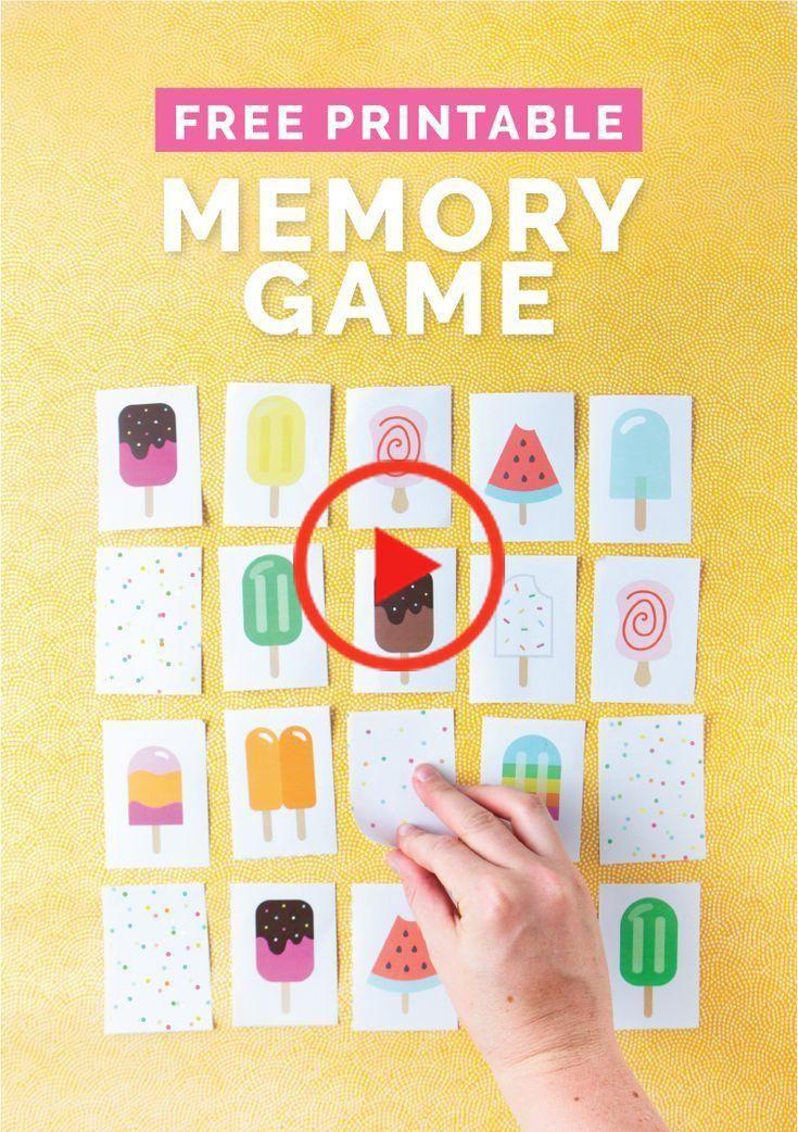 FREE Eis am StielThemen Druck Memory Game in 2020
