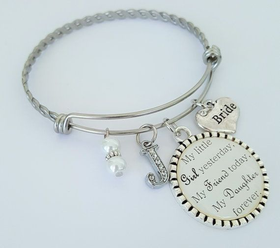 Give Your Daughter This Special Personalized Custom Bracelet On Her Wedding Day Is Made To Order It Features A Twisted Stainless
