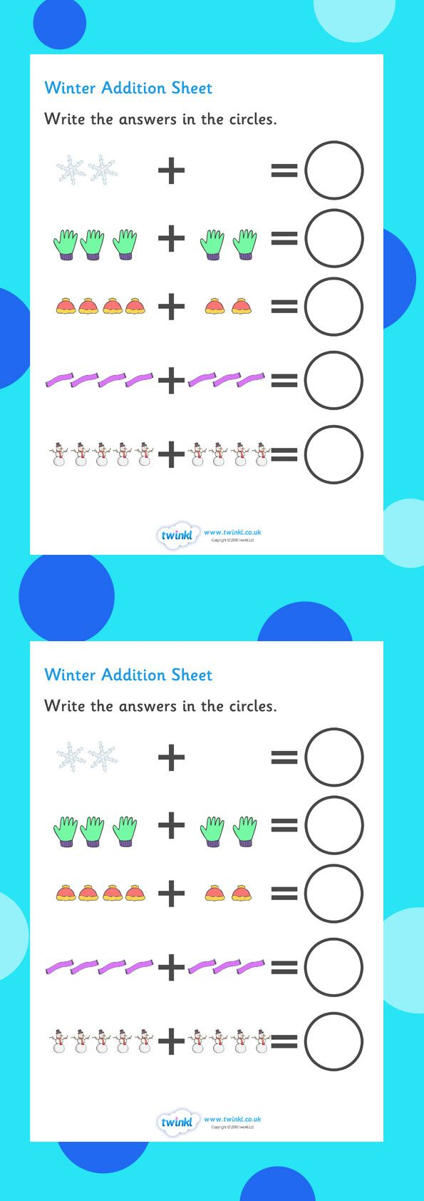 My Counting Worksheet (Winter). Free Printables. | Unite:winter ...