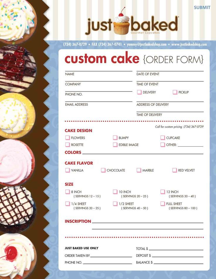 Just Baked makes Custom Cakes! Cake Templates \ Guides - cake order forms