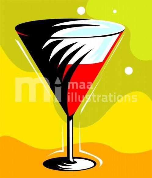 Illustration of drinks in a goblet
