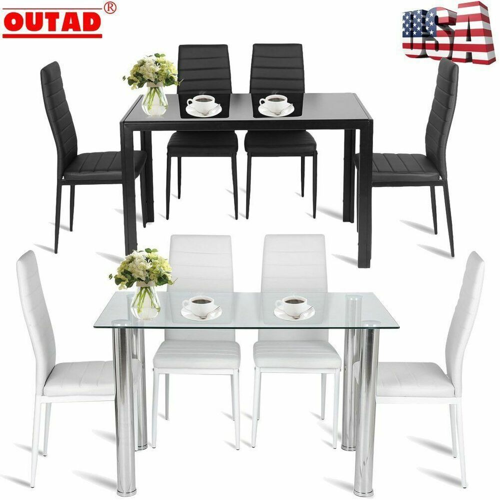 5PC Dining Table Set Modern Kitchen Room Furniture W/ 4 ...