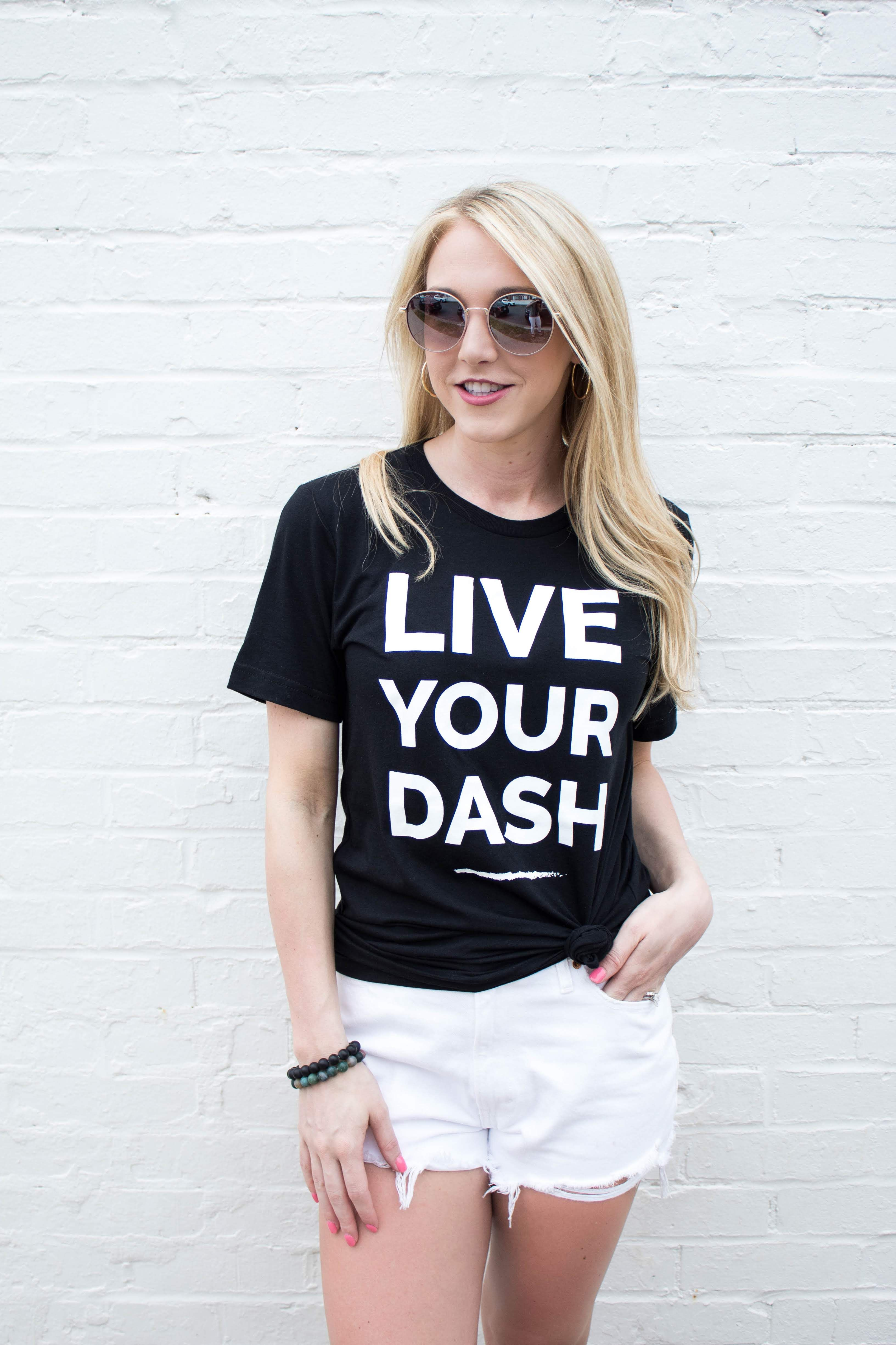 Live Your Dash Block Unisex TShirt Tees, How to wear, T
