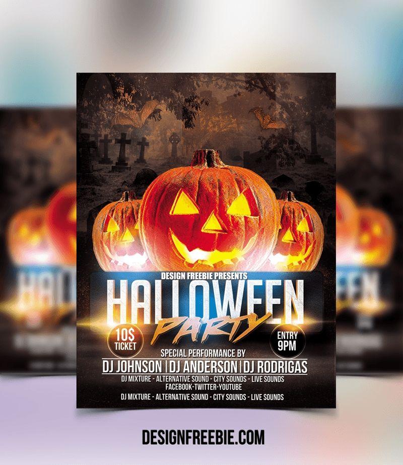 60 Best Free Flyer Templates Psd: Halloween Party Flyer Templates