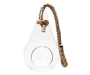 Contenant pour terrarium VITA verre et corde, transparent et naturel - H33