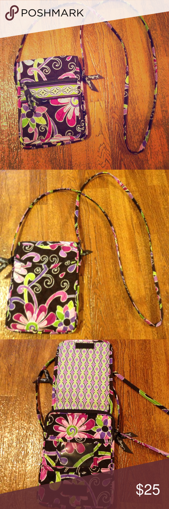Vera Bradley Mini Hipster This crossbody is perfect for a day filled with shopping! It's small and convenient and keeps all the necessities! It has a small zipper pocket on the front and a sleeve on the back. The flap on the front is Velcro and it has a clear slot for an ID. The inner part has a zipper closure and it has 4 card slots on the inside! Used a few times but in great condition! Vera Bradley Bags Crossbody Bags