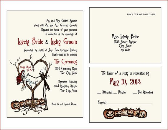 Halloween Wedding Invitation: Set Of 10 Vintage Fall Autumn Halloween Spooky Burton
