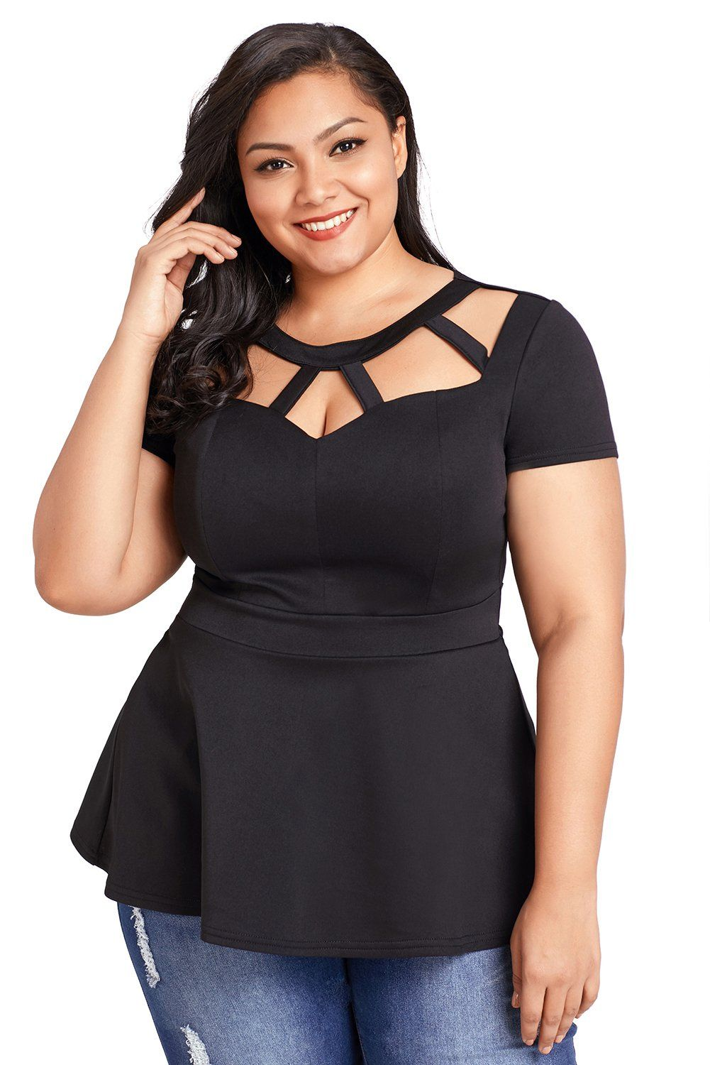 b3742fa0a38 Sexy Black Plus Size Caged Top