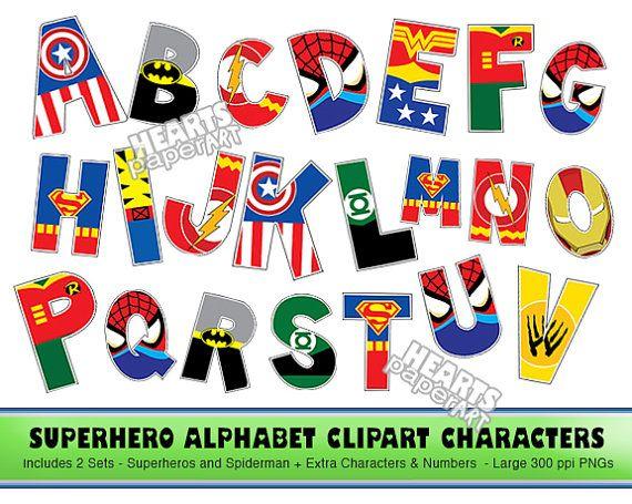 SUPERHERO Alphabet Clipart, PNG, Printable, Font, Alphabet, Lego ...