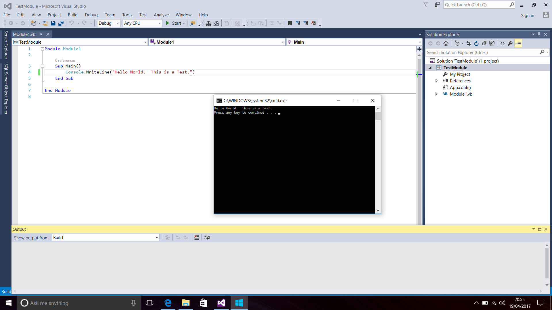 Screenshot of Visual Basic Code and the Console Window in