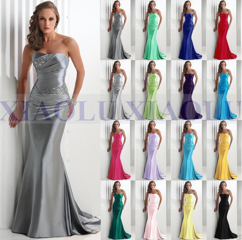 Formal Long Ball Gown Party Prom Bridesmaid Evening Dress Size 6 8