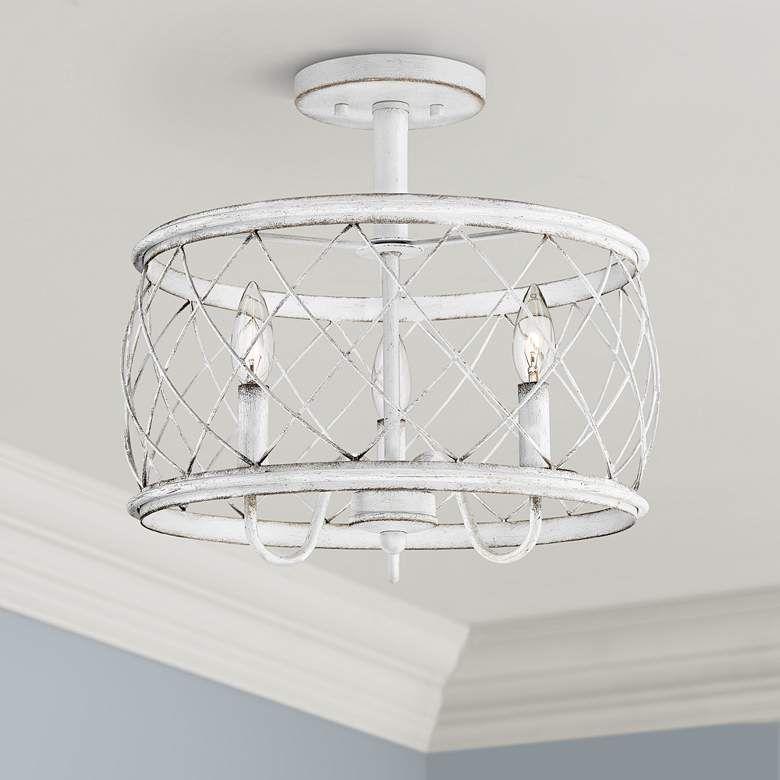 Quoizel Dury 15 Wide Antique White 3 Light Ceiling Light 67d73 Lamps Plus Bedroom Ceiling Light Ceiling