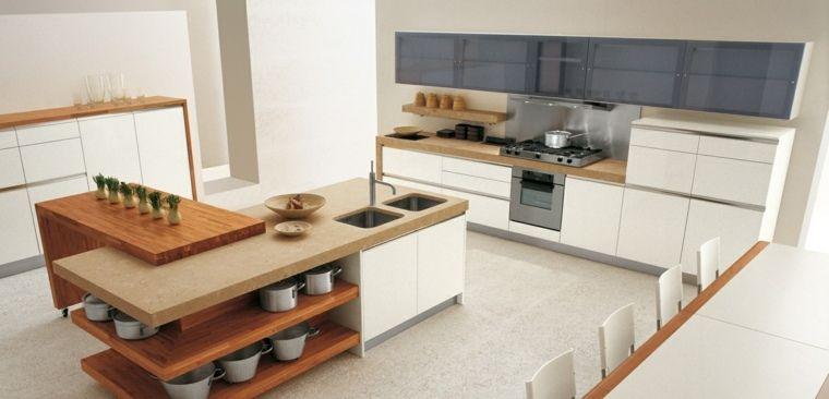 Cuisine en L moderne avec îlot en 108 photos magnifiques Interiors - Cuisine Moderne Avec Ilot