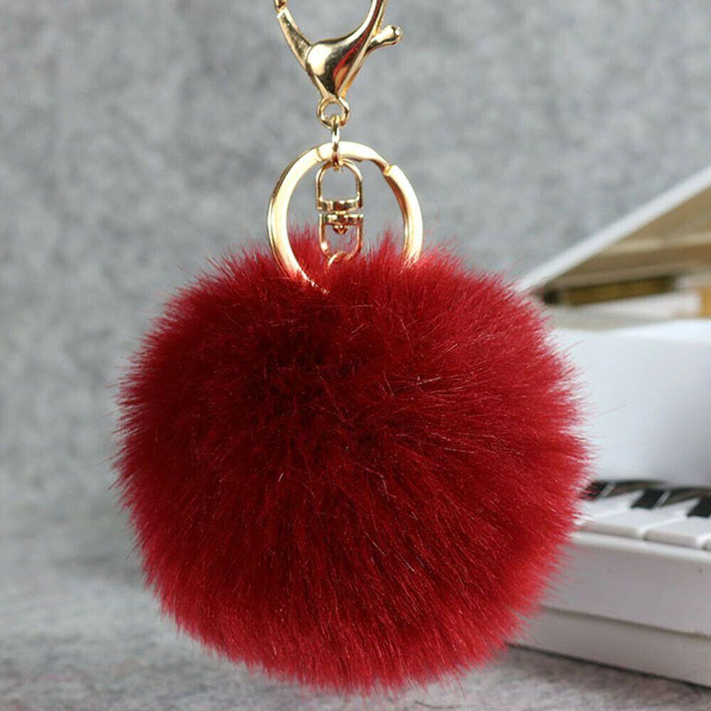 9cm Fluffy Fox Fur Ball Key Chain Cute Wine Red Pompom Artificia Fashion Clothing Shoes Accessories Womensaccessori Fur Ball Fur Handbags Faux Fur Pom Pom