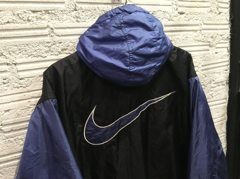 Ultra Rare Vintage 90 S Nike Big Swoosh Windbreaker Etsy Windbreaker Red And Blue Vintage Nike