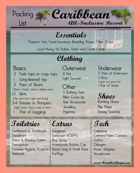 Packing List For Resort   Pinteres