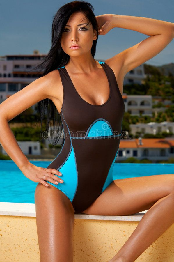 Fitness and Swim. Beautiful young brunette woman posing in swimming wear , #Sponsored, #Beautiful, #...