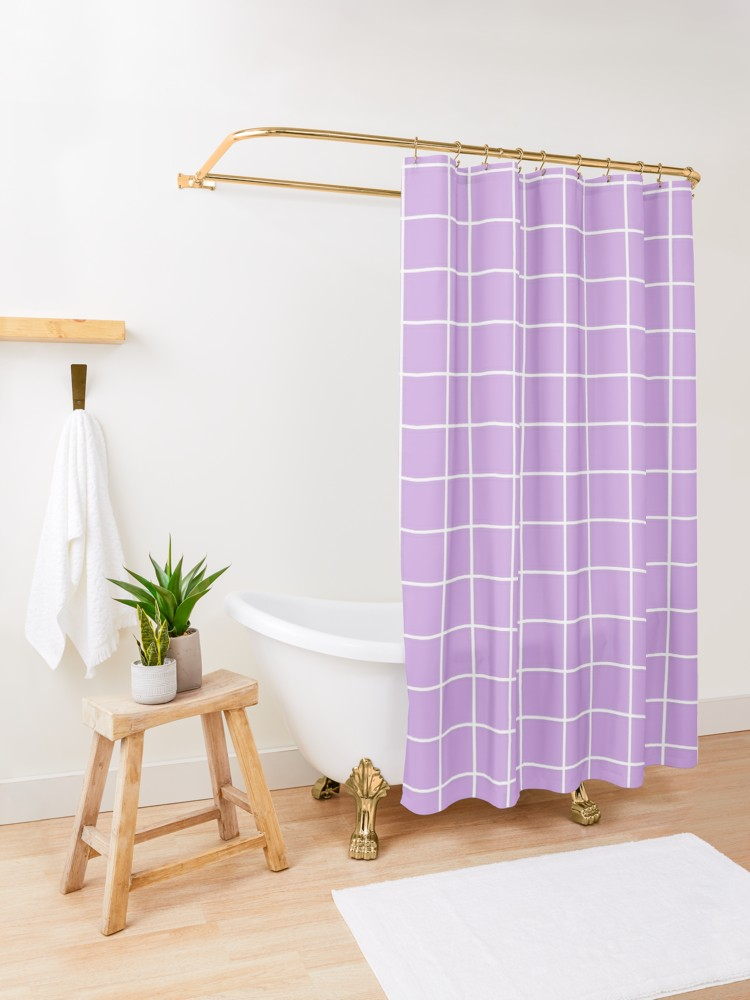 Purple Grid Aesthetic Pastel Lilac Violet Shower Curtain By