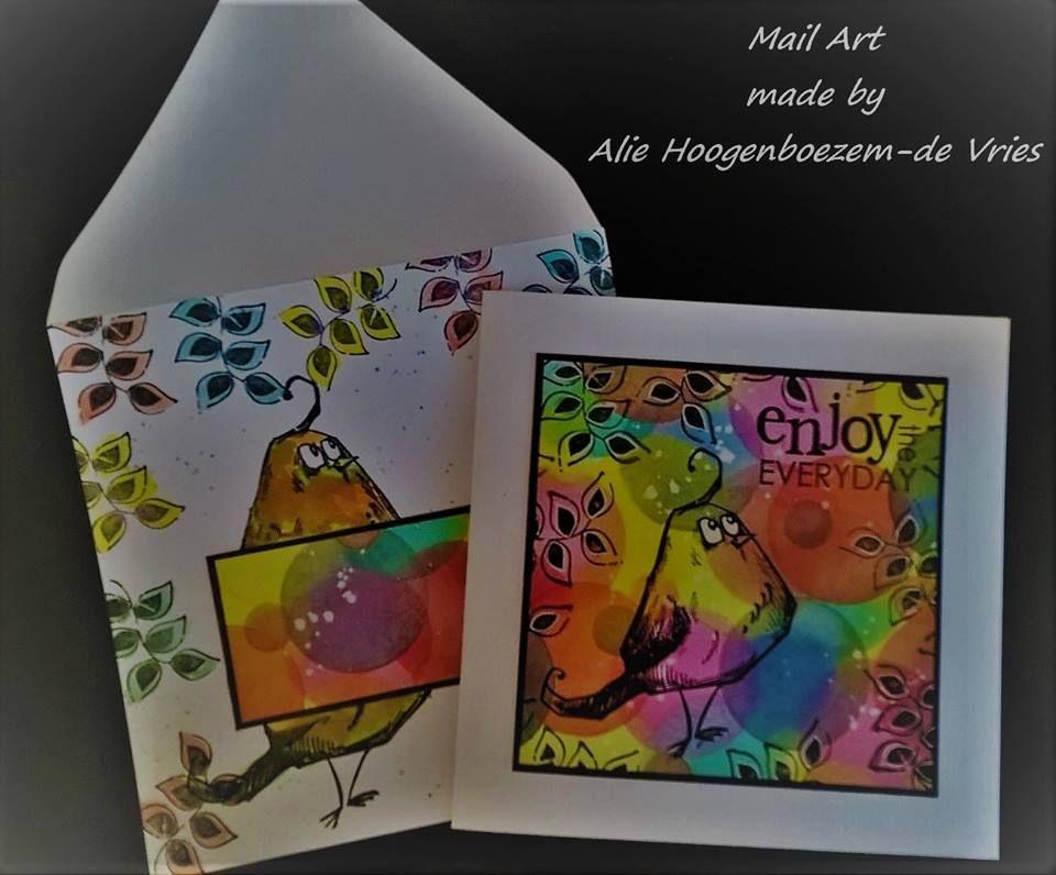 Mail Art made with a Tim Holtz Crazy Bird and Distress Inks, by Alie Hoogenboezem-de Vries