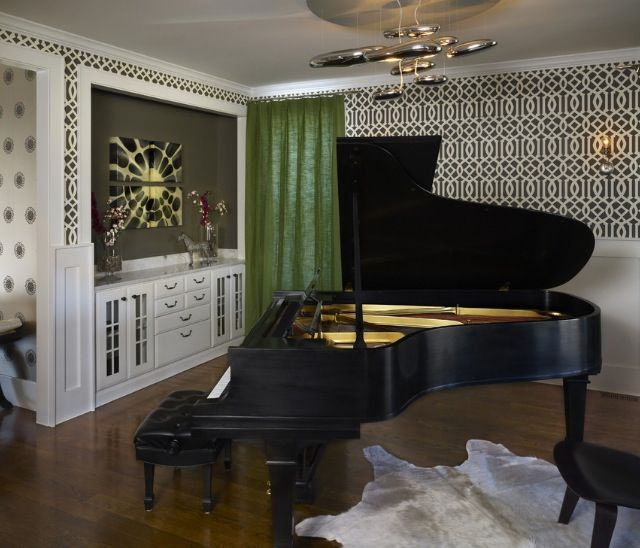 Astonishing Grand Piano Decorating Ideas For Engaging Family Room Contemporary Design With Accent Wall Built In Storage Chandelier Cowhide Rug