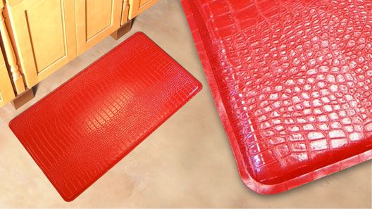 Gelpro Crocodile Red Gel Mats Gel Filled Comfort Floor Mats And