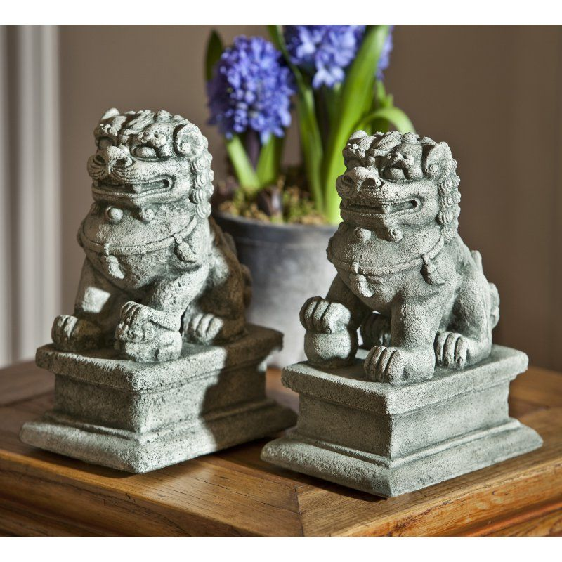 Campania International Small Temple Foo Dog Garden Statue - Set of 2