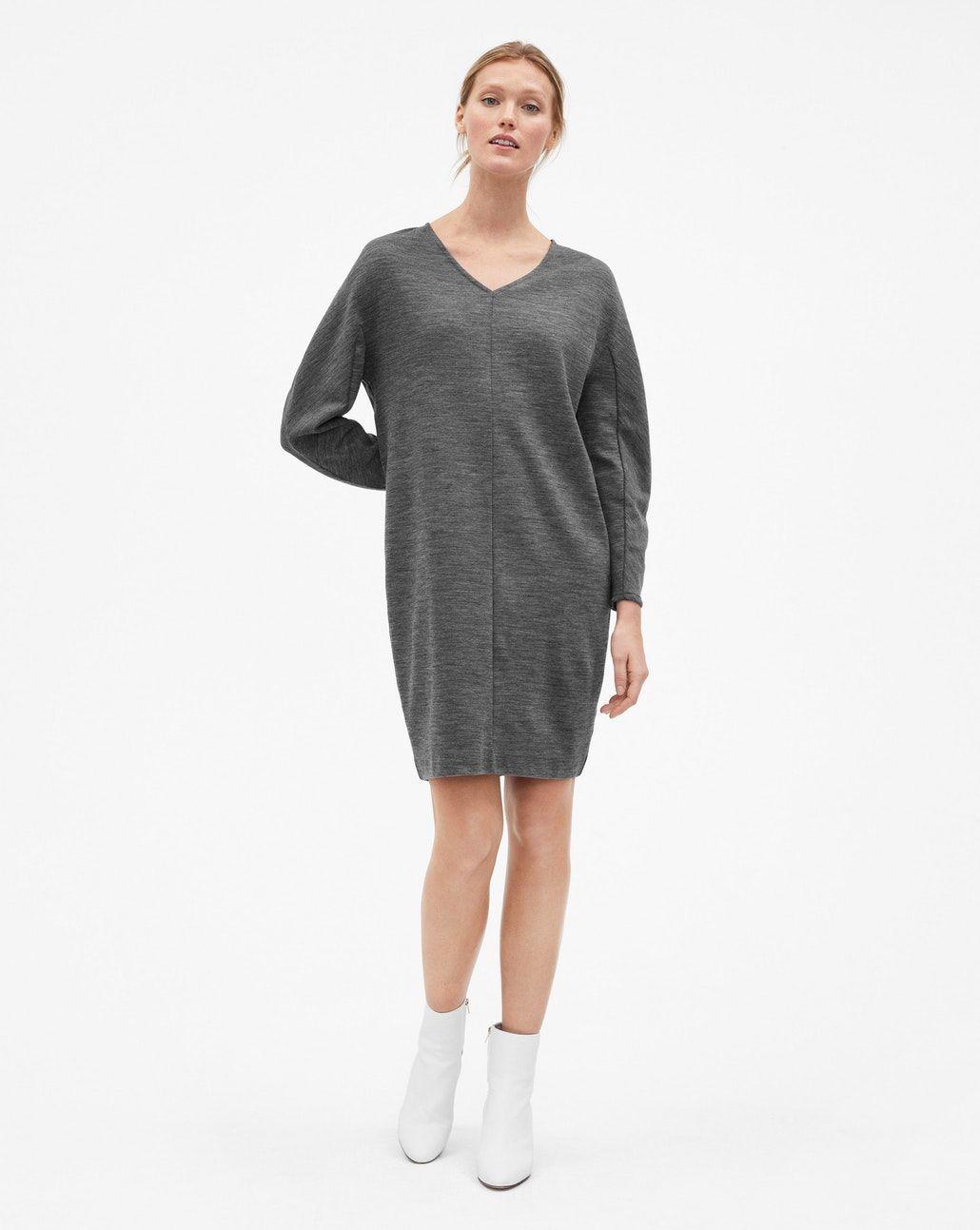 4c4478c19f17d1 Sculptural Wool Dress Dark Grey Melange - Dresses - Woman - Filippa ...